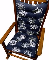 100 Navy Blue Rocking Chair Coastal Coral Cushions Latex Foam Fill