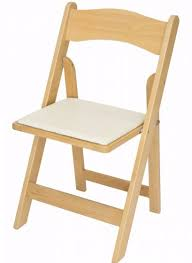 Natural Wood Wedding Garden Folding Chair White Seat Pad