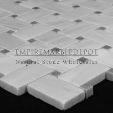 carrara marble basketweave mosaic tile bardiglio gray dots honed