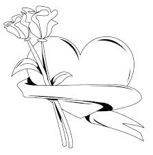 Heart Rose Coloring Pages And Color Of Hearts Roses Pictures
