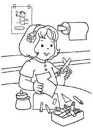 Kindergarten Cutting Paper In The Coloring Page