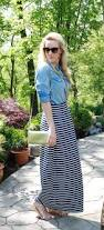 midas touch denim shirt striped maxi skirt u0026 gold accessories
