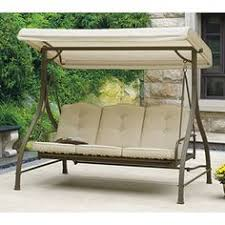 Mainstays Warner Heights Converting Outdoor Swing Hammock Tan Seats 3