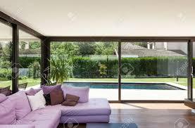 modern villa interior wide living room with divan