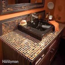 how to install a glass tile vanity top vanities mosaic glass