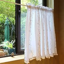 omela scheibengardine küchengardine weiß blumen spitze kurzstore gardinen landausstil kurze vorhänge vorhang voile bistrogardine mit weiß bommel