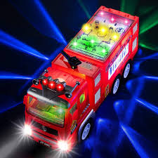 100 Fire Trucks Unlimited Electric Truck Kids Toy With Bright Flashing 4D Lights Real Siren Sounds Bump And Go Truck For Boys Automatic Steering On Contact