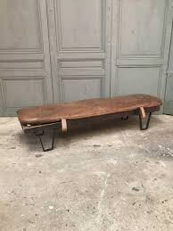 vintage wooden bench with leather cushion for sale at pamono