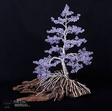 Driftwood Christmas Trees by Lilac Crystal Bead Wire Tree Sculpture On Driftwood Base By Metal