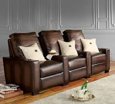 turner square leather media row of 3 pottery barn