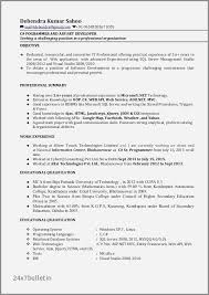 Sample Resume For Net Developer With 2 Year Experience