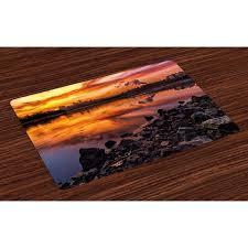 Landscape Placemats Set Of 4 Usa Missouri Kansas City Scenery A Sunset Lake Nature Camping