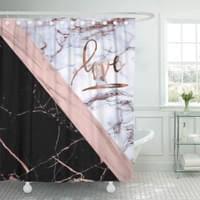 pkqwtm roségold glänzend rosenquarz abstrakt glänzend luxus funkelnd badezimmer dekor bad duschvorhang 165x180 cm