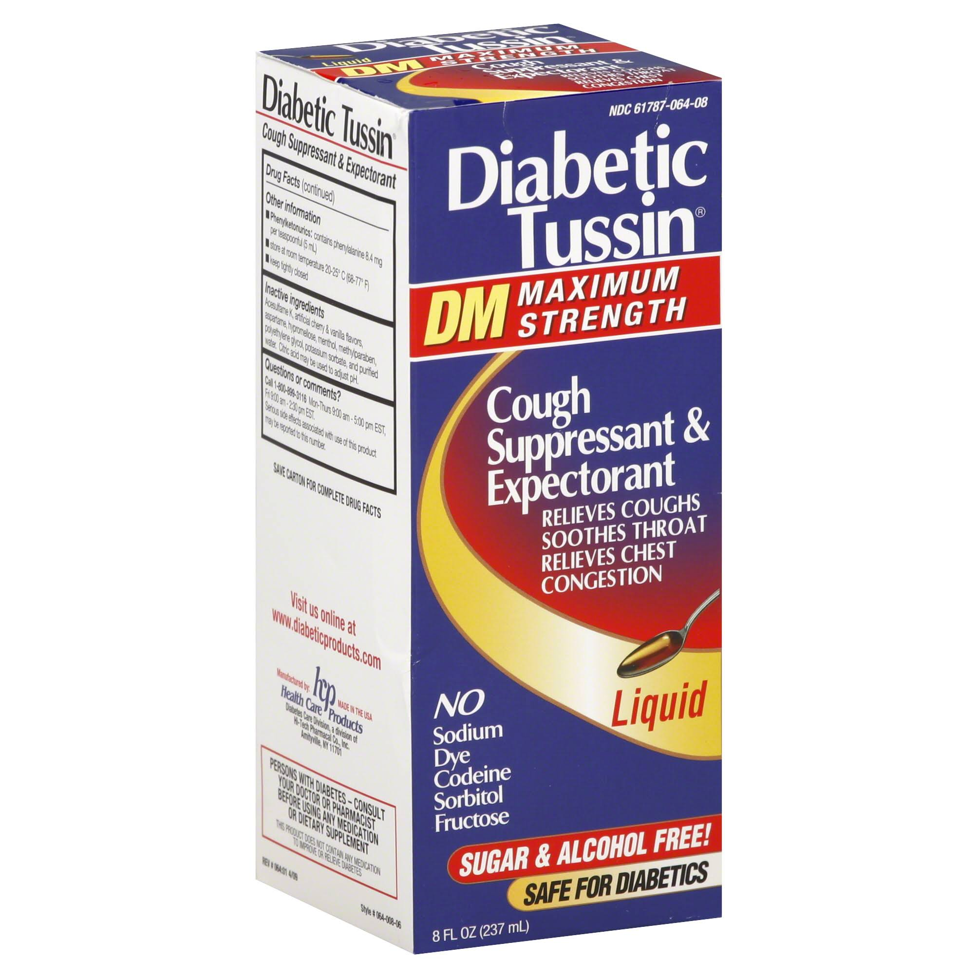 Diabetic Tussin DM Cough Suppressant & Expectorant - Maximum Strength, 8 oz