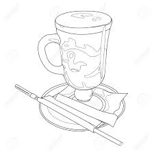 Cute Coffee Cup Doodle Cappuccino Latte Illustration Vector Drink Image