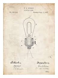 edison light bulb invention poster 18x24 handmade gicl礬e