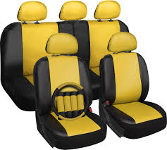 Oxgord Tactical Floor Mats by Faux Leather Car Seat Covers Yellow 17pc Set W Steering Wheel Belt