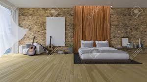 3d rendering bild schlafzimmer weißes bett auf leder basis in das loch des bodens mit schwarzem stein gefüllt fotorahmen hängen an der ziegel