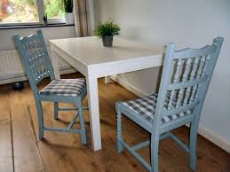 Two Refurbished Wooden Dining Chairs Painted Light Grey