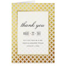 Stylish Gold & White Wedding Thank You Card gold wedding ts