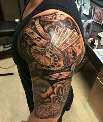 Half Sleeve Clock Tattoos For Men