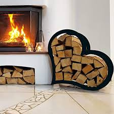 prima terra kaminholzregal kaminholzunterstand brennholzregal kaminholz aufbewahrung regal herzform schwarz h 52cm b 54cm
