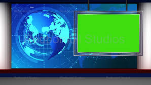 News 07 Broadcast TV Studio Green Screen Background Loopable
