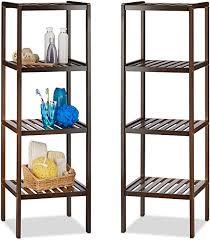 relaxdays 2 x bambusregal mit 4 ablageflächen hohes standregal holzregal für küche flur und bad dunkelbraun
