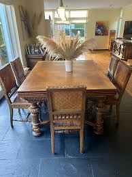edle antike rittertafel inkl 8 stühlen esstisch massivholz ebay