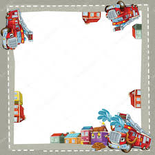 100 Fire Truck Parking Games Artistic Cartoon Frame Happy Fire Truck Stock Photo