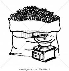 Bag Of Coffee Beans And Griding With Crank Monochrome Blurred Silhouette Vector Illustration