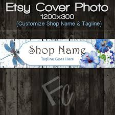Etsy Shop Cover Photo Premade Dragonfly And Flowers On Rustic Wood Design Customize Name Looks Great Mobile Devices By FoothillCrafters