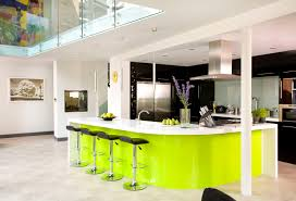 KitchenOpen Plan Lime Green Kitchen Decor With Big Bar Table And Metal Exhaust Hood