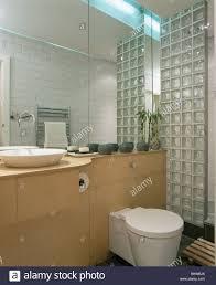 glas ziegel wand in modernes bad mit spiegelwand oberhalb