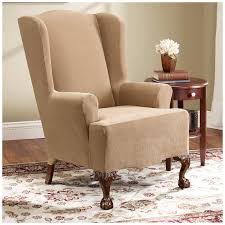 Furniture: Comfortable Wingback Chair Slipcover For Inspiring ... Fniture White Line Slipcover For Wing Chair Capvating Bedroom Astonishing Recliner Elegant Home Slip Covers Linen Wingback Black Arm Emerald And Amazoncom Tikami Slipcovers 2piece Spandex Stretch Purple Patterned Decofurnish Red Armless Room With Unique Richness Cover Intended Satisfying Petite Pottery Barn Modern Chairs Leather Grey Turquoise Double Diamond White Black Linen Wingback Slipcover Having Short Wooden Legs Pique Raven 710