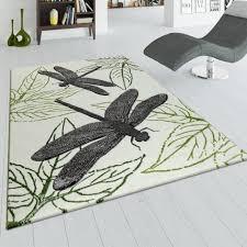 kurzflor teppich libellen muster beige grün