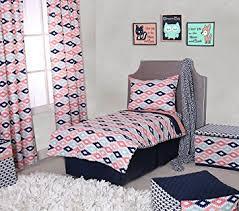Amazon Bacati Emma Aztec 4 Piece Toddler Bedding Set Coral