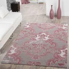teppich florales design grau pink