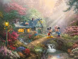 Thomas Kinkade Christmas Tree Uk by Mickey And Minnie U2013 Sweetheart Bridge The Thomas Kinkade Company