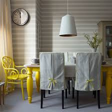 Grey Striped Dining Room With Yellow Chair