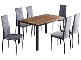set tisch und 6 stühle salta holz metall samt natürliches holz schwarz grau 233181