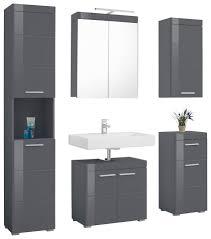 trendteam badmöbel set amanda set 5 tlg mit spiegelschrank inkl led beleuchtung hoch waschbeckenunter hänge und unterschrank