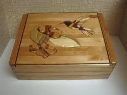 wood jewelry box keepsake box decorated with an intarsia