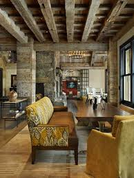 Old Wood Ceiling Beams Stone And Wooden Walls Modern Interior Design