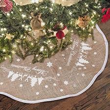 Hootech Christmas Tree Skirt 48 Inch Burlap Skirts Ornaments Xmas Decorations White Snowflake Printed For