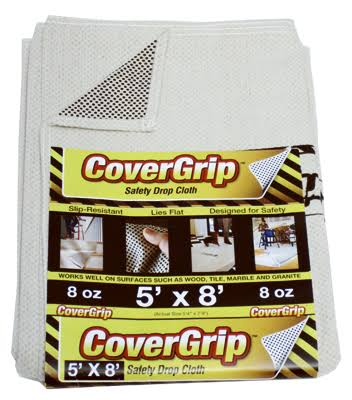 CoverGrip 005808 Canvas Safety Drop Cloth - Off White, 5' X 8', 8oz