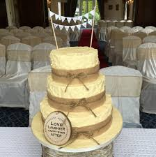 W Buttercream Rustic Wedding Cake With Burlap And Bunting No
