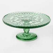 Round Glass Cake Stand 9in Green