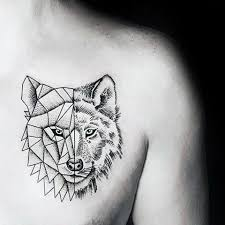 Abstract Wolf Head Tattoo On Man Front Shoulder