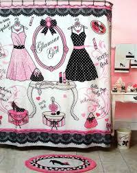 Paris Themed Bathroom Accessories by Amazon Com Glamour Pink Black U0026 White Shower Curtain 70
